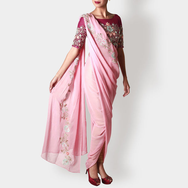 Carnation Draped Georgette Sari With Marsala Floral Crop Top