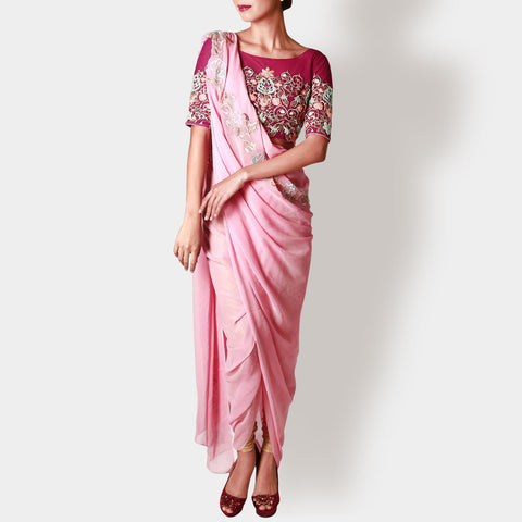 Carnation Draped Georgette Sari with Marsala Floral Crop Top by Rene