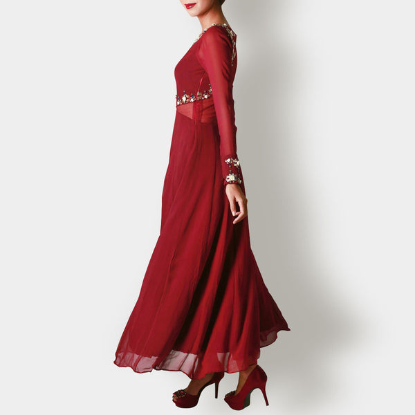 Red Marsala Georgette And Net Anarkali
