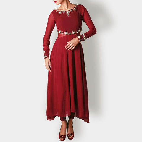 Red Marsala Georgette and Net Anarkali by Rene
