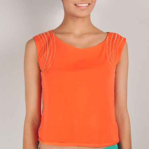 Tangerine Lines of Paradise Crop Top by Renee