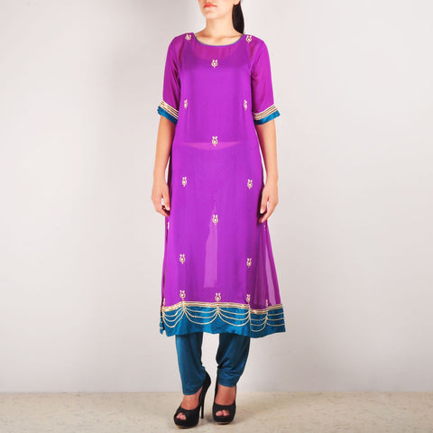 Purple Heavy Embroidered Royale Kurta Set by Rene