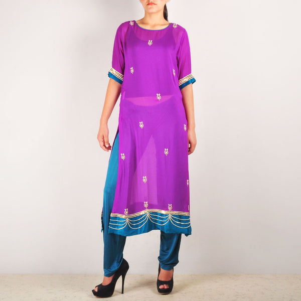Purple Heavy Embroidered Royale Kurta Set