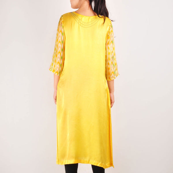 Long Yellow Beaded Staright Cut Kurta