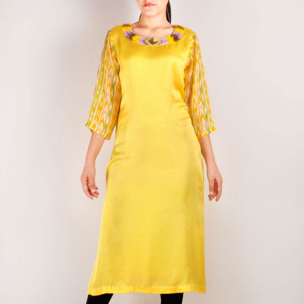 Long Yellow Beaded Staright Cut Kurta by Rene