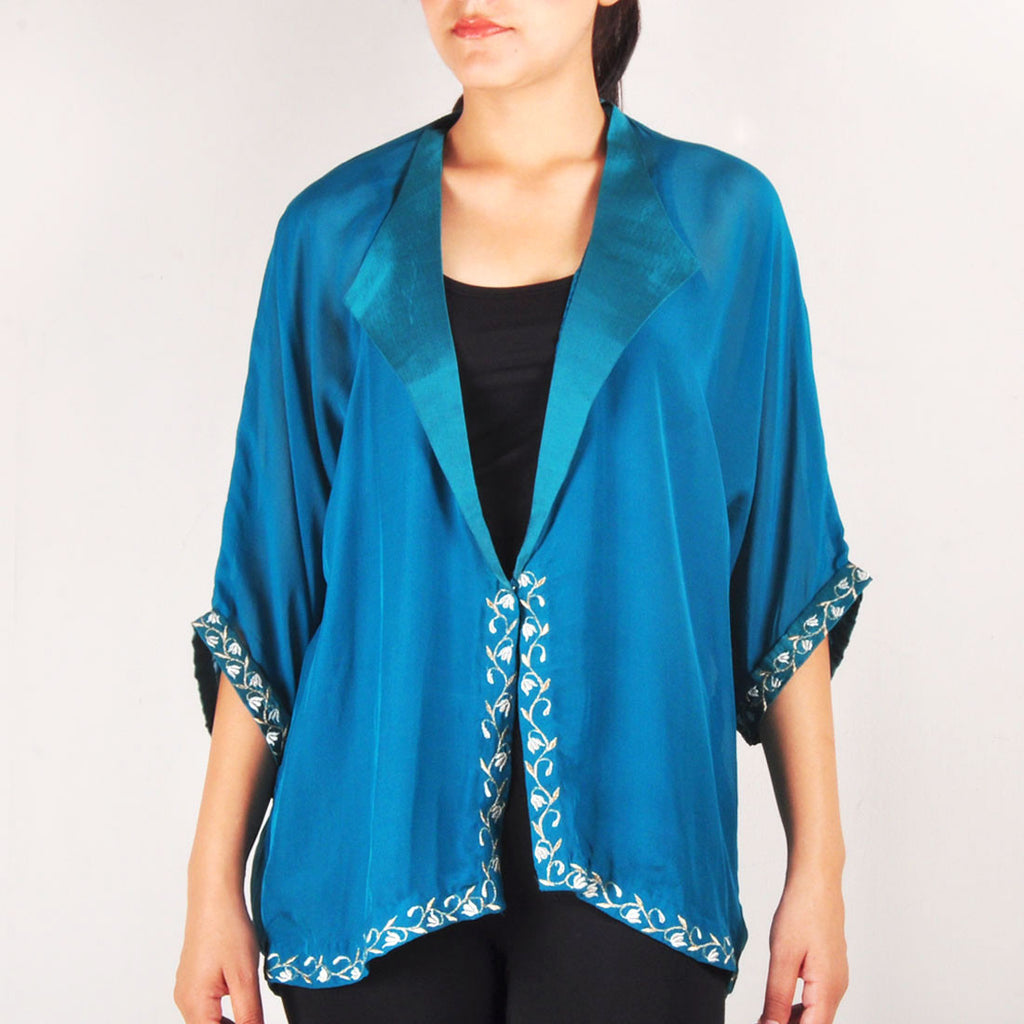 Pine Kimono Front Embroidered Jacket by Renee
