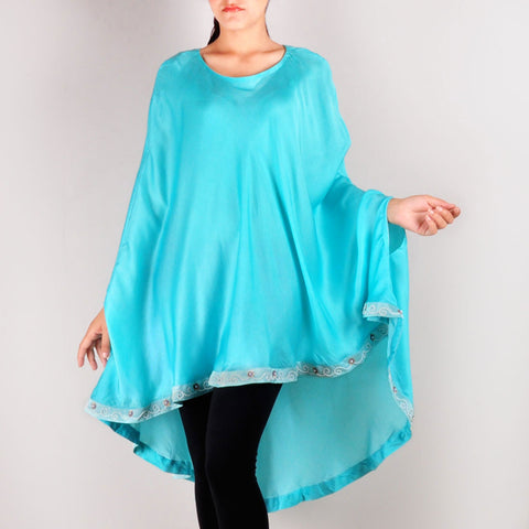 Mint Blue Pearl Embroidered Cape by Renee
