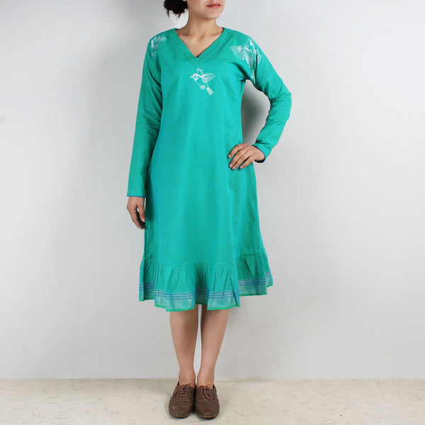 Cotton Embroidered Dress by ROUKA by Sreejith Jeevan