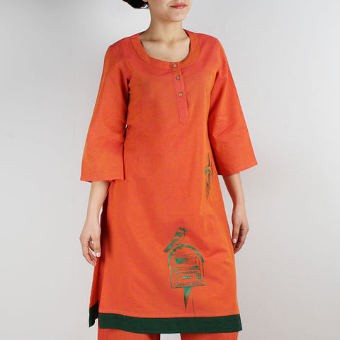 Cotton Tunic With Bird And Post Box Motifs by ROUKA by Sreejith Jeevan