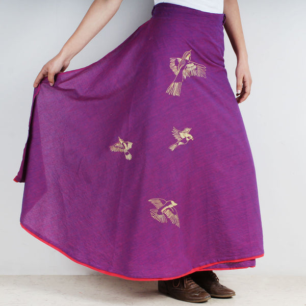 Cotton Wrap Around Skirt With Bird Motifs