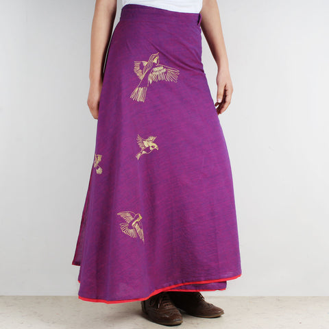 Cotton Wrap Around Skirt With Bird Motifs by ROUKA by Sreejith Jeevan