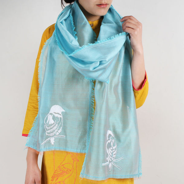 Blue Cotton Silk Stole With Bird Motifs by ROUKA by Sreejith Jeevan