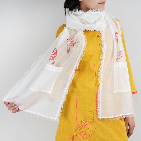 White Cotton Silk Stole With Pocket And Bird Motif