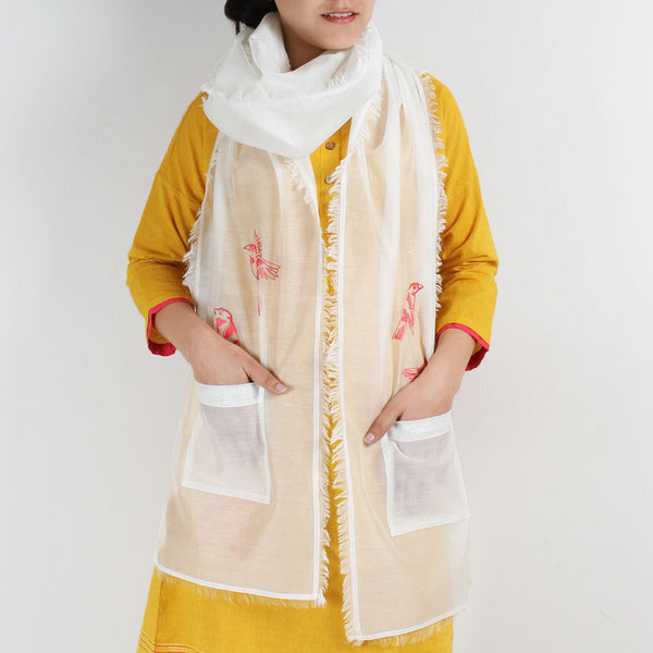 White Cotton Silk Stole With Pocket And Bird Motif by ROUKA by Sreejith Jeevan