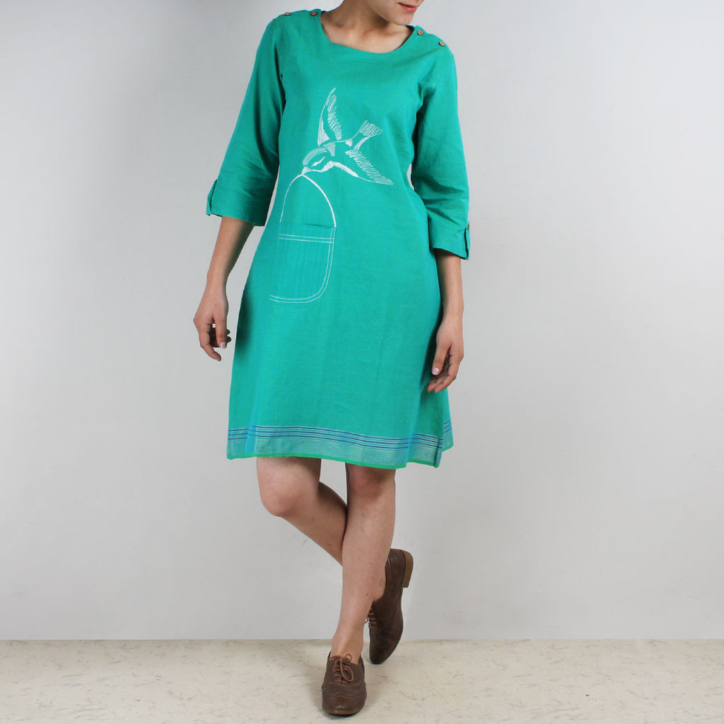 Cotton Dress With Quirky Pocket And Bird Motif by ROUKA by Sreejith Jeevan