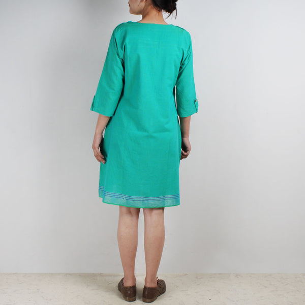 Cotton Dress With Quirky Pocket And Bird Motif