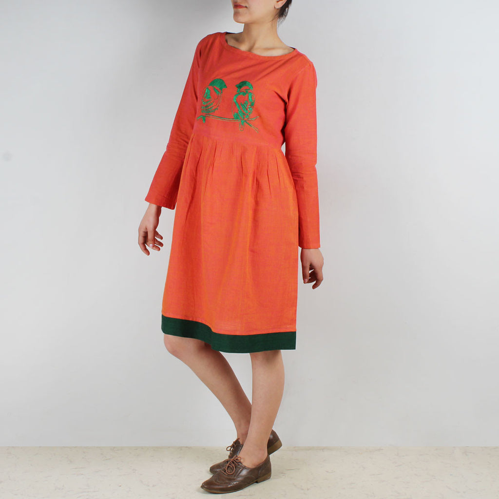 Cotton Dress With Love Birds Embroidery by ROUKA by Sreejith Jeevan