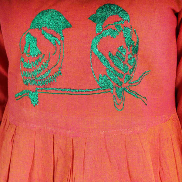 Cotton Dress With Love Birds Embroidery