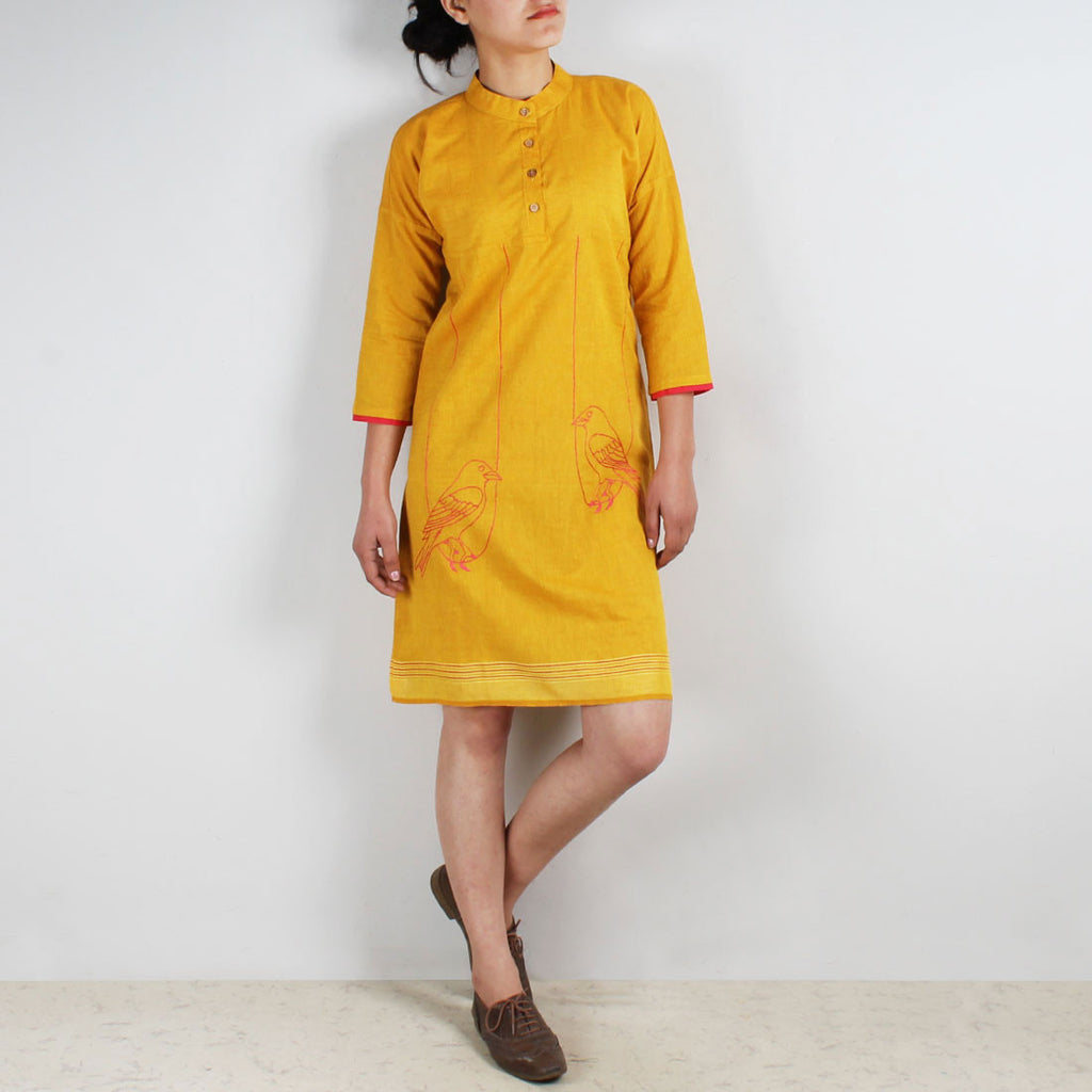 Cotton Dress With Embroidered Birds On Swings by ROUKA by Sreejith Jeevan