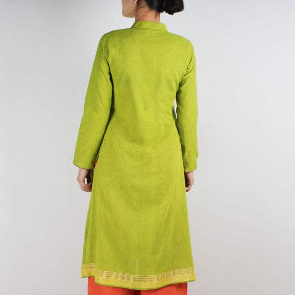 Cotton Kurta With Embroidered Birds On Pockets