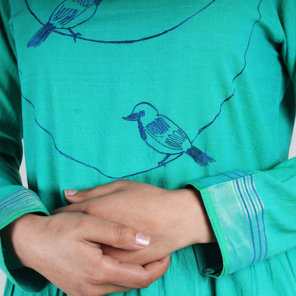 Cotton Dress With Bird Motifs On A String