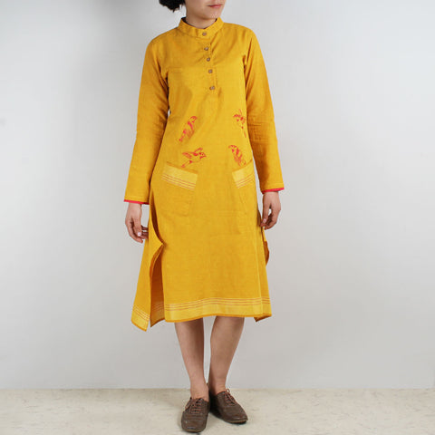 Cotton Dress With Asymmetric Sides by ROUKA by Sreejith Jeevan