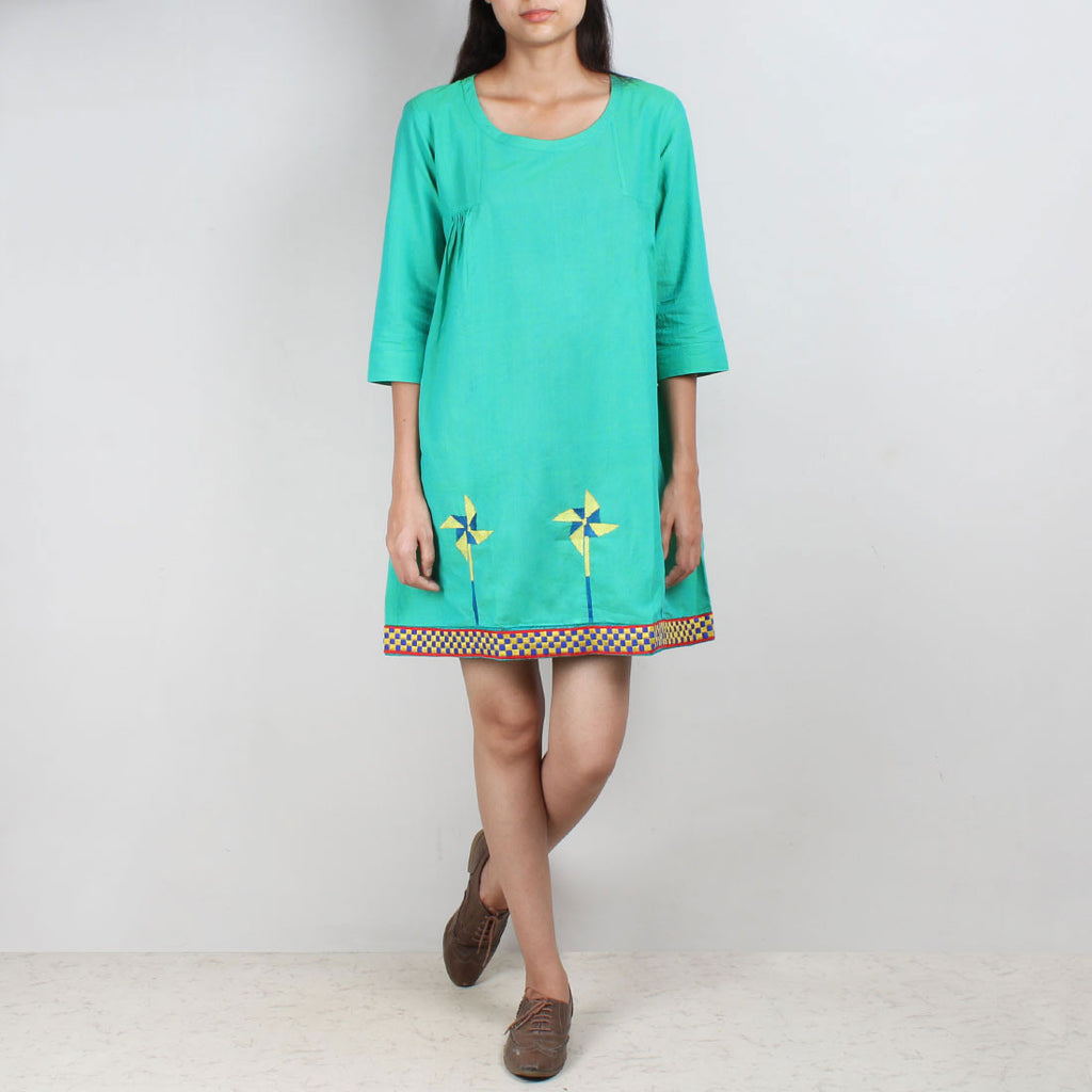 Turquoise South Cotton Tunic Dress With Embroidery by ROUKA by Sreejith Jeevan