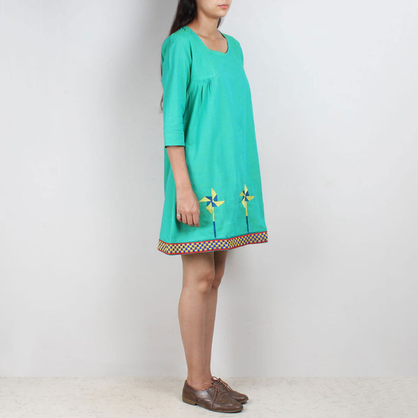 Turquoise South Cotton Tunic Dress With Embroidery