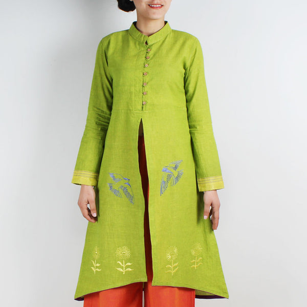Cotton Jacket Style Kurta With Embroidered Motifs by ROUKA by Sreejith Jeevan