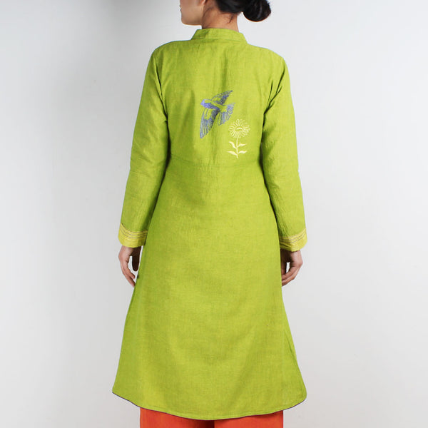 Cotton Jacket Style Kurta With Embroidered Motifs
