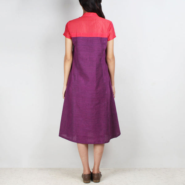 Purple South Cotton Dress With Quirky Pocket