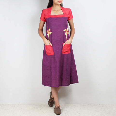 Purple South Cotton Dress With Quirky Pocket by ROUKA by Sreejith Jeevan