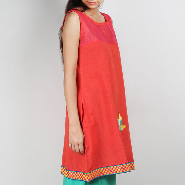 Pink South Cotton Dress With Quirky Motif