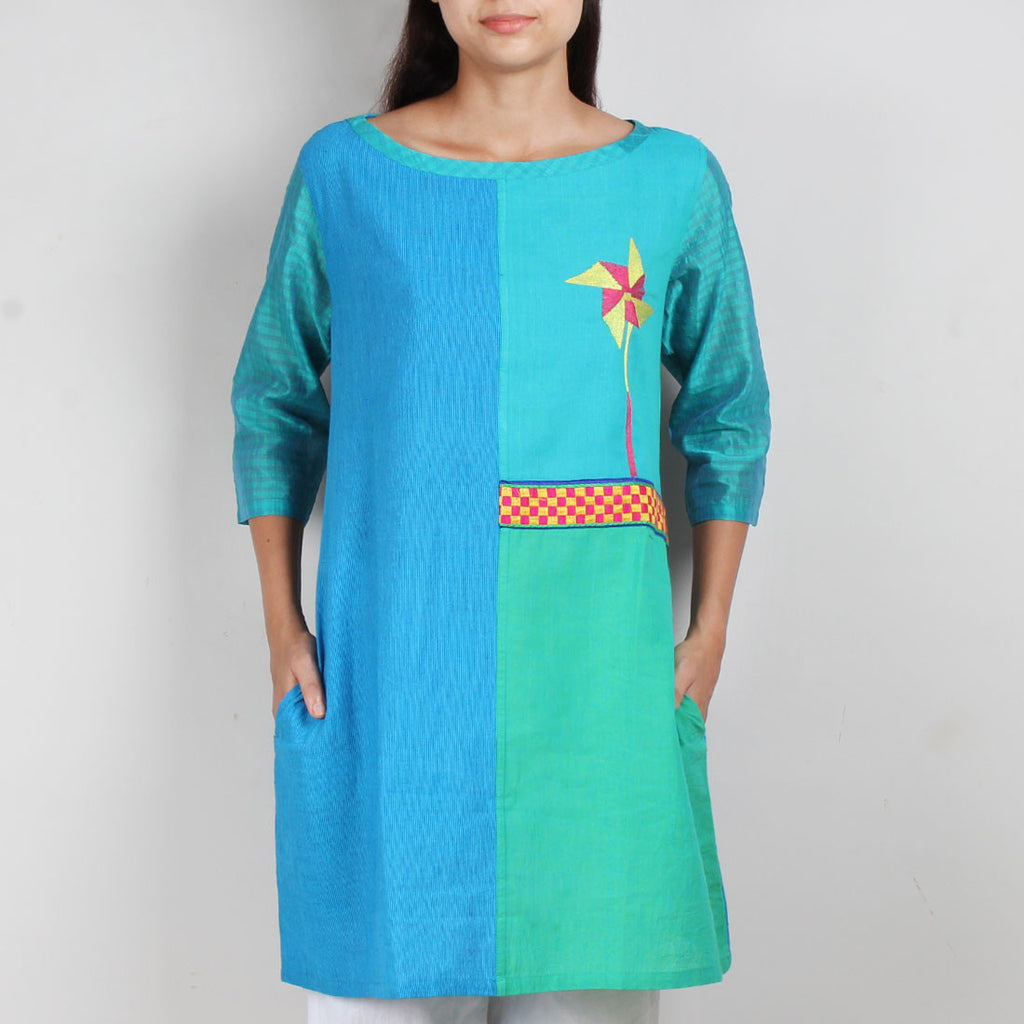 Blue South Cotton Patched Dress With Pockets And Quirky Motif by ROUKA by Sreejith Jeevan