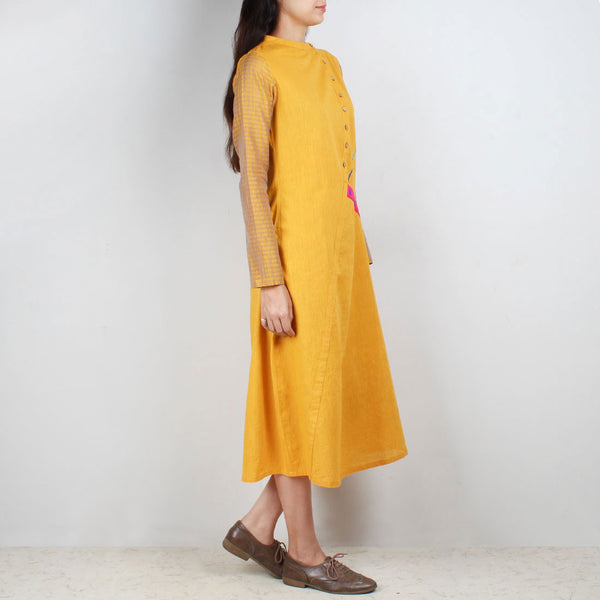 Yellow South Cotton Asymmetric Dress With Embroidery