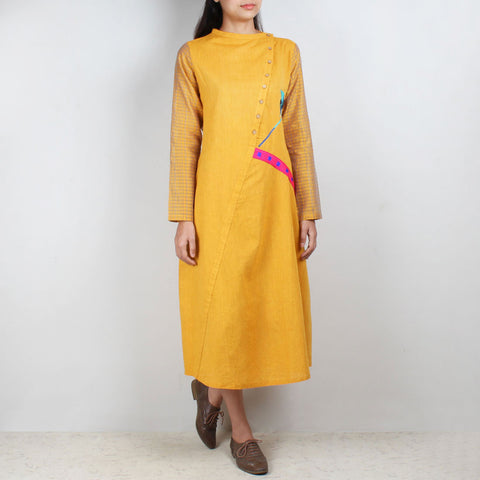 Yellow South Cotton Asymmetric Dress With Embroidery by ROUKA by Sreejith Jeevan