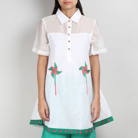 White South Cotton Shirt Dress by ROUKA by Sreejith Jeevan