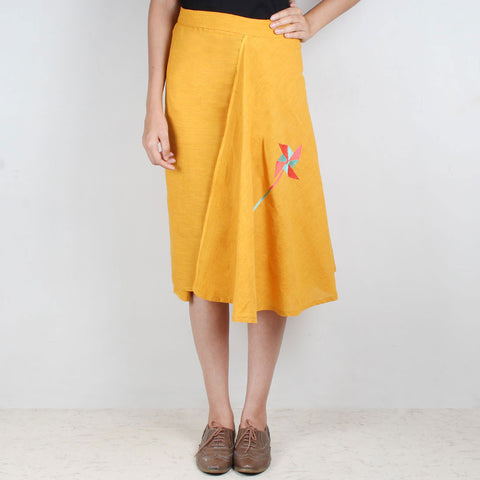 Yellow South Cotton Skirt by ROUKA by Sreejith Jeevan