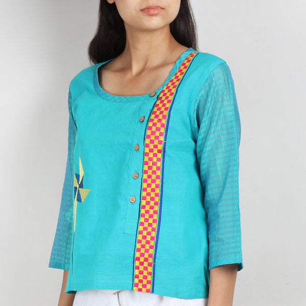 Blue Cotton Silk Top with Asymmetric Opening
