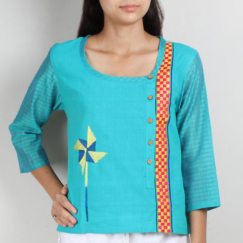 Blue Cotton Silk Top with Asymmetric Opening by ROUKA by Sreejith Jeevan