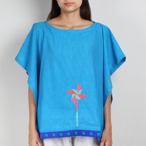 Blue South Cotton Kaftan Top with Side Button Detail by ROUKA by Sreejith Jeevan