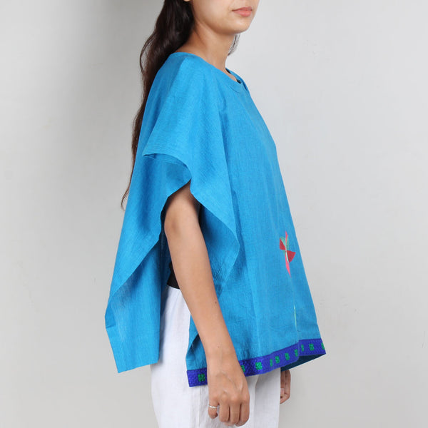 Blue South Cotton Kaftan Top with Side Button Detail