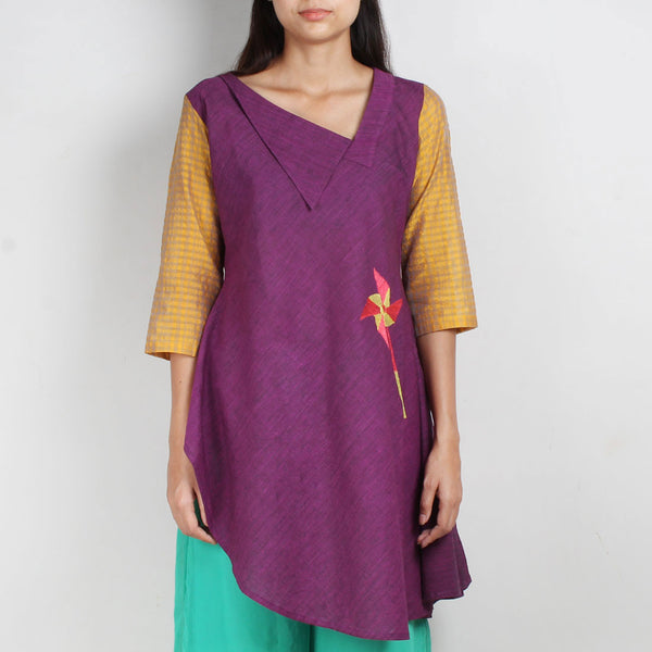 Purple South Cotton Asymmetric Tunic Dress