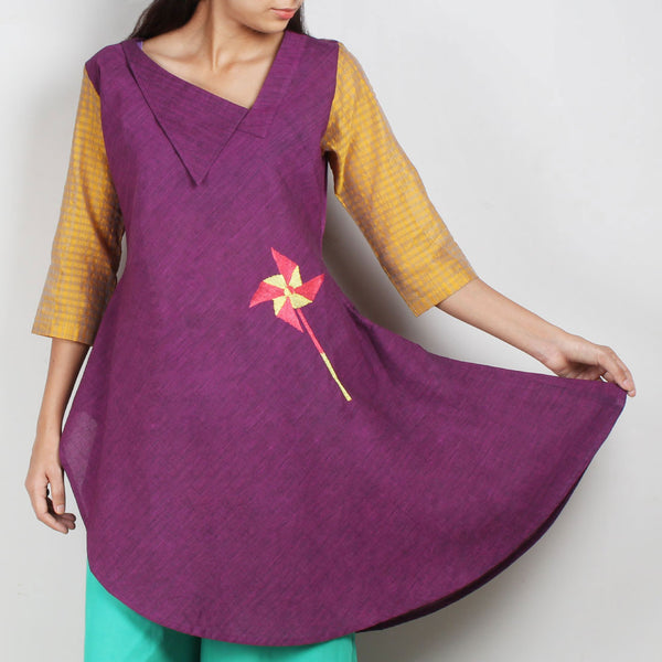 Purple South Cotton Asymmetric Tunic Dress by ROUKA by Sreejith Jeevan