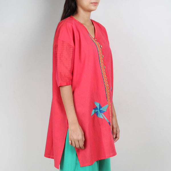 Pink Antifit South Cotton Tunic With Cotton Silk Sleeves