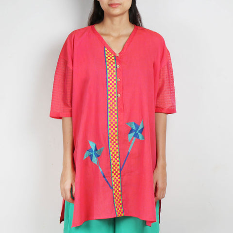 Pink Antifit South Cotton Tunic with Cotton Silk Sleeves by ROUKA by Sreejith Jeevan