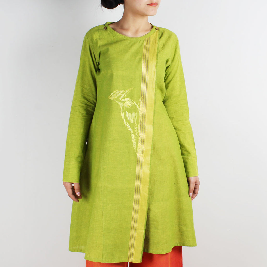 Cotton Embroidered Overlap Tunic by ROUKA by Sreejith Jeevan