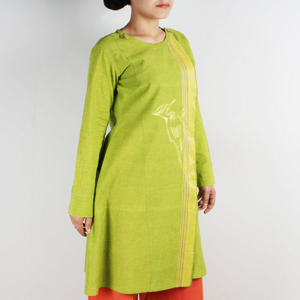 Cotton Embroidered Overlap Tunic