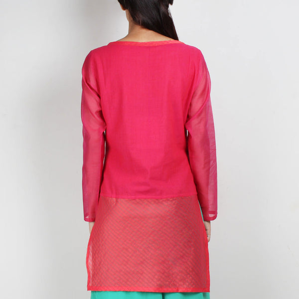 Pink Cotton Silk Tunic With Embroidery