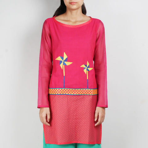 Pink Cotton Silk Tunic with Embroidery by ROUKA by Sreejith Jeevan